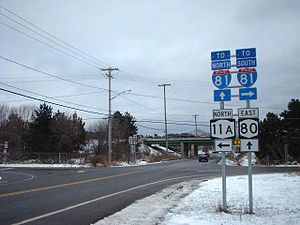 New York State Route 80 - NY 11A's southern terminus at NY 80 in Tully