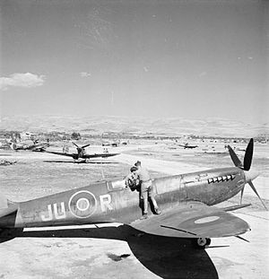 No. 111 Squadron RAF - Supermarine Spitfires of No. 111 Squadron undergoing maintenance at Comiso, Sicily. 'JU-R' in the foreground is an early variant of the Mk IXC, the other aircraft being Mk VCs.