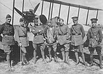 Royal Flying Corps officers in front of a BE2b. (22223563448).jpg