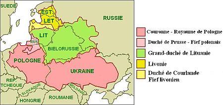 Les contours du royame polono-lituanien avec ses vassaux en 1619 superposé aux frontières actuelles. Rose: Pologne. Rose pâle: Borussie ou Prusse orientale. Vert: Lituanie. Jaune: Livonie. Jaune pâle: Courlande.