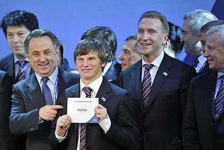 Russian delegates celebrate being chosen as the host of the 2018 FIFA World Cup Russia 2018 World Cup.jpeg