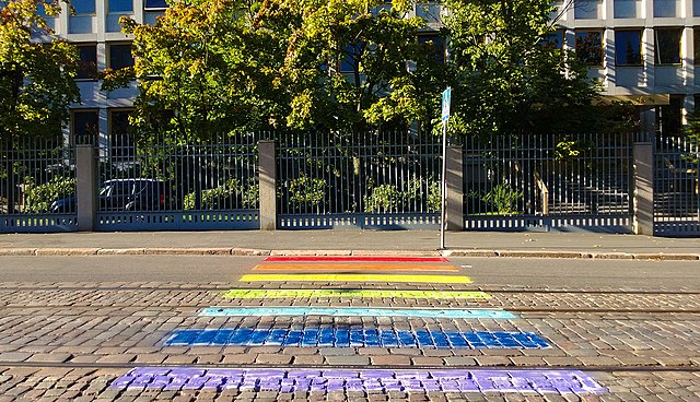 Rainbow pavement outside Russian Embassy