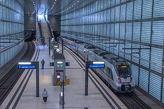 S-Bahn Mitteldeutschland - A train at Leipzig Wilhelm-Leuschner-Platz railway station