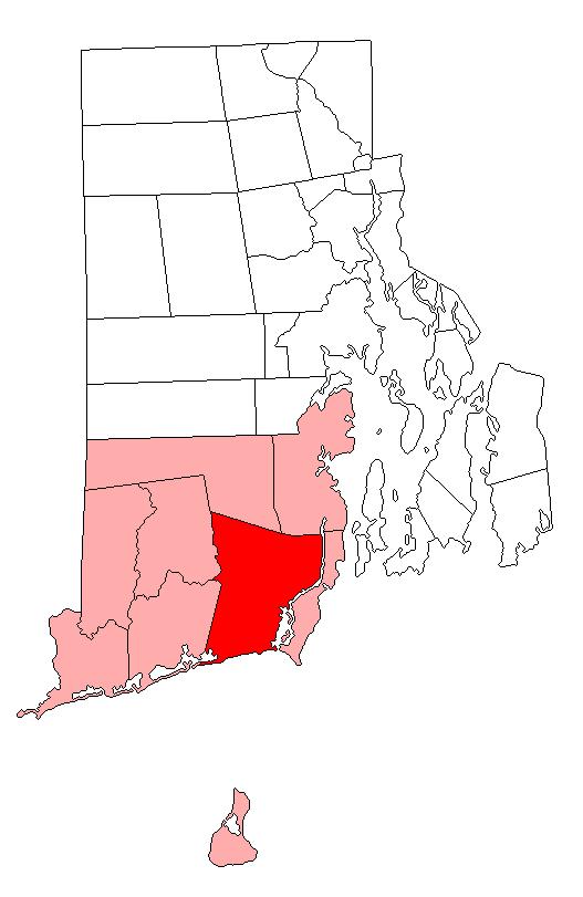 Location of South Kingstown in Washington County, Rhode Island