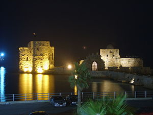 Holy Land - Sidon's Sea Castle, built by the Crusaders as a fortress of the Holy Land in Sidon, Lebanon