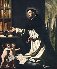 Saint Thomas d'Aquin en extase dans sa bibliothèque avec deux anges