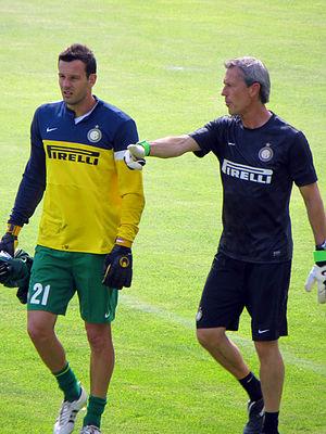 Samir Handanović - Handanović (left) in training with goalkeepers coach Alessandro Nista.