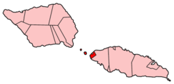 Map of Samoa showing Aiga-i-le-Tai district