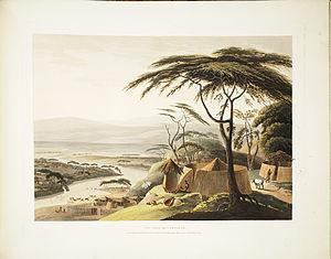 "Dithakong - ""The town of Leetakoo"", 1801 painting  by Samuel Daniell"