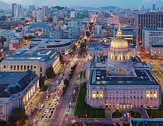 Van Ness Avenue - Van Ness Avenue and San Francisco City Hall at dusk