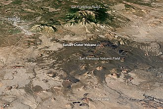San Francisco volcanic field - Satellite image of part of the San Francisco volcanic field, presented as a  3D terrain model. Note that North is to the right.