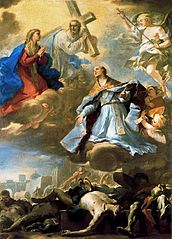 Saint Januarius intercedes with the Virgin, Christ, and Eternal Father for the plague