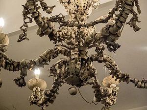 Santa Maria dell'Orazione e Morte - Detail of human bones chandelier in chamber of Santa Maria dell'Orazione e Morte