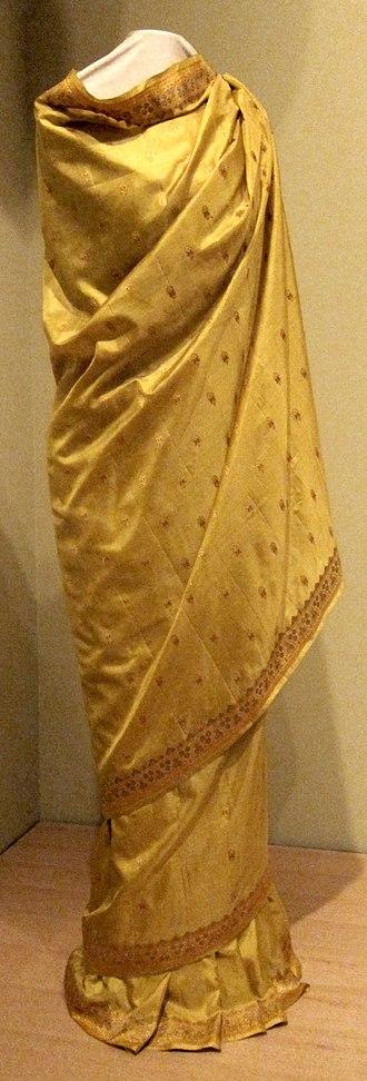 Zari - Sari from India (probably Benares), late 19th or early 20th century, silk with metallic thread (Zari)