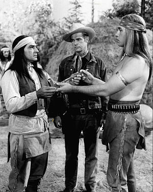 Broken Arrow (TV series) - Anthony Caruso, John Lupton as Tom Jeffords and Michael Ansara as Cochise, 1957.