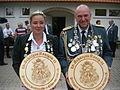 Schützenfest 2011, Königin Mary Engert und König sowie Präsident der Gilde Bernhard Reichel.JPG