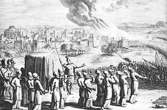 Ark of the Covenant - The covered ark and seven priests with rams' horns, at the Battle of Jericho, in an eighteenth-century artist's depiction.