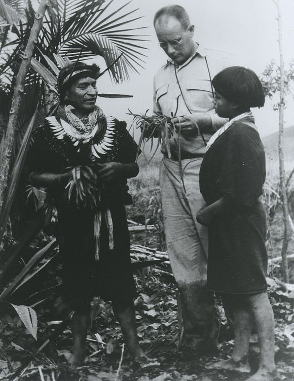 The ethnobotanist Richard Evans Schultes at work in the Amazon (~1940s) Schultes amazon 1940s.jpg
