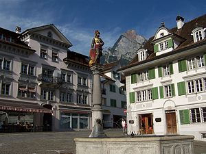 Schwyz - Fountain in the central plaza in Schwyz