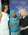 Secretary Clinton and First Lady Obama With 2012 IWOC Award Winner Hawa Abdallah Mohammed Salih of Sudan.png