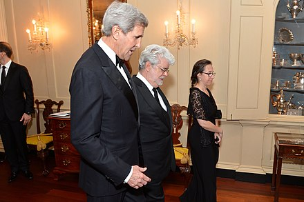 Lucas with Secretary of State John Kerry in Washington, D.C., on December 5, 2015. Secretary Kerry Chats With 2015 Kennedy Center Honors Recipient George Lucas (23244763499).jpg