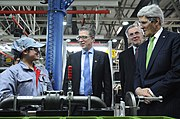 Secretary Kerry Chats With Worker on Engine Assembly Line (12538366364)