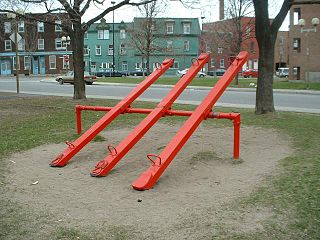 Seesaw Long, narrow board pivoted in the middle