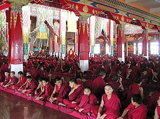 Secularism in India - Buddhist monks at the Sera Monastery during a festival. The monastery was granted asylum by India and relocated to Mysore after the Chinese invasion of Tibet.