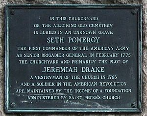 Seth Pomeroy - Plaque near graveyard entrance