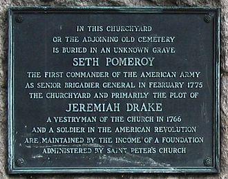 Vestryman - Seth Pomeroy grave plaque at the  Hillside Cemetery in Peekskill, New York
