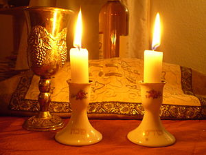 Jewish holidays - Shabbat candles and kiddush cup