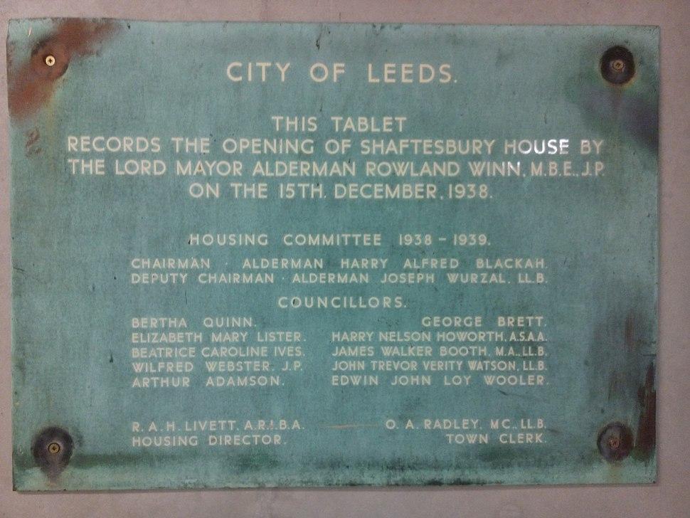 Shaftesbury House Leeds opening commemorative plaque 1938