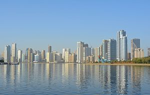 Sharjah city skyline in 2015
