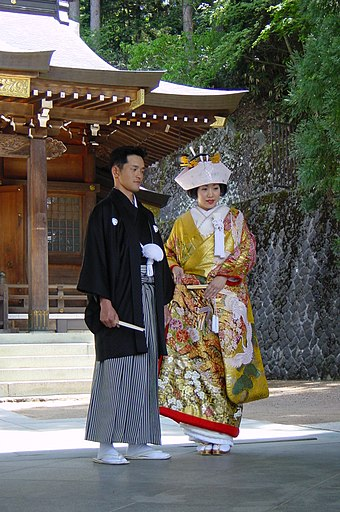 Couple married in a Shinto ceremony in Takayama, Gifu prefecture. Shinto married couple.jpg