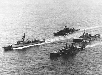 HMS Sirius (F40) - Ships of NATO Standing Naval Force Atlantic (STANAVFORLANT), including HMS Sirius, underway in 1974
