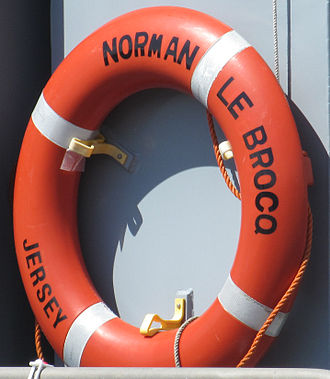 Norman Le Brocq - Lifebelt of the Norman Le Brocq, States fisheries vessel