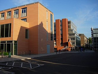 West Road, Cambridge - Partial view of 9 West Road, containing the Faculty of English (left).