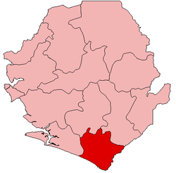 Location of Pujehun District in Sierra Leone