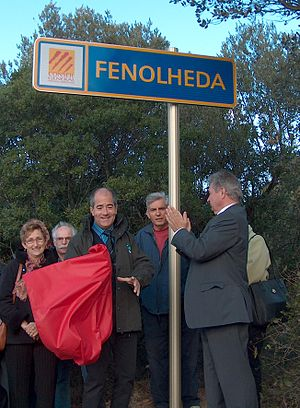 Fenouillèdes - Fenolheda road sign, introduced by Christian Bourquin