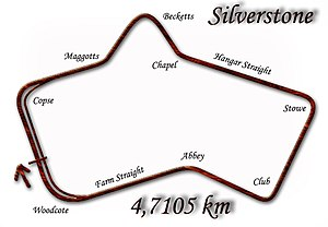British Grand Prix - Silverstone, (albeit 3 changes around the Farm Straight and Woodcote) used from 1950–1990