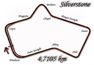 1954 British Grand Prix - Silverstone Circuit in 1952–1973 configuration