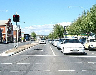 Sir Donald Bradman Drive, Adelaide - Looking east at the South Road intersection towards the city.