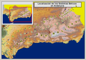 Baetic System -  Map of the Baetic System in Andalusia