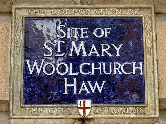 St. Mary Woolchurch Haw, London blue plaque - Site of St. Mary Woolchurch Haw
