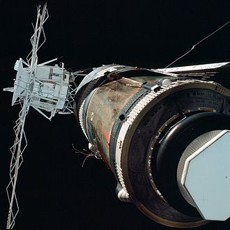 Apollo Telescope Mount - Image taken during the Skylab 2 inspection of Skylab, showing the ATM in position. The main solar panel on Skylab is not yet deployed and the micrometeoroid shield is missing