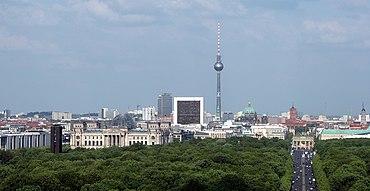 Aussicht von der Siegessäule auf die Straße des 17.Juni Richtung Berliner Mitte