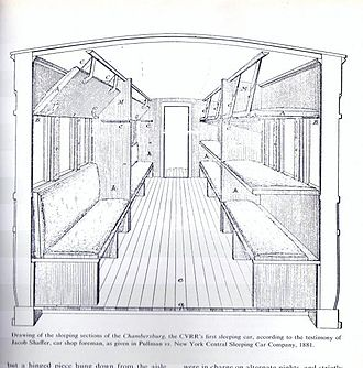 "Sleeping car - The first American sleeping car, the ""Chambersburg"" started service on the CVRR in 1839."