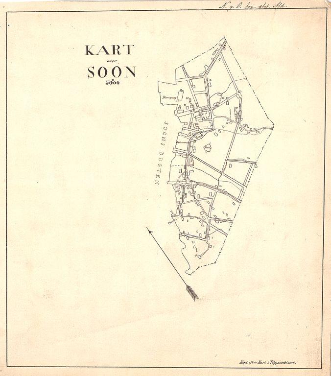 1880 kart File:Smålenenes amt nr 151  Kart over Soon, 1880.   Wikimedia  1880 kart