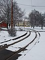 Sneaking tram line 69 in Besenyő Park, 2018 Rákospalota.jpg