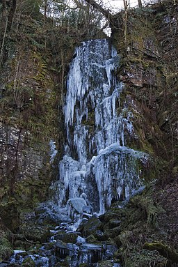 Solid Ice Waterfall side of Melincourt-Falls - geograph.org.uk - 1454658